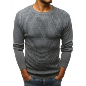 Pánský svetr šedé barvy přes hlavu se vzorem