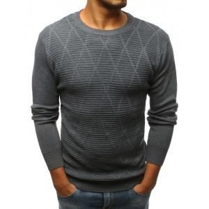 Antracitový pánský svetr přes hlavu s kosočtvercovým vzorem