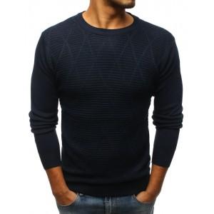 Elegantní pánský svetr tmavě-modrý se vzorem