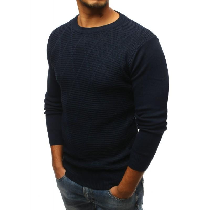 Elegantní pánský svetr tmavě-modrý se vzorem 24ff72fa89