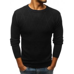 Pánský svetr černé barvy s trendy vzorem