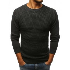 Stylový pánský svetr v módní grafitové barvě