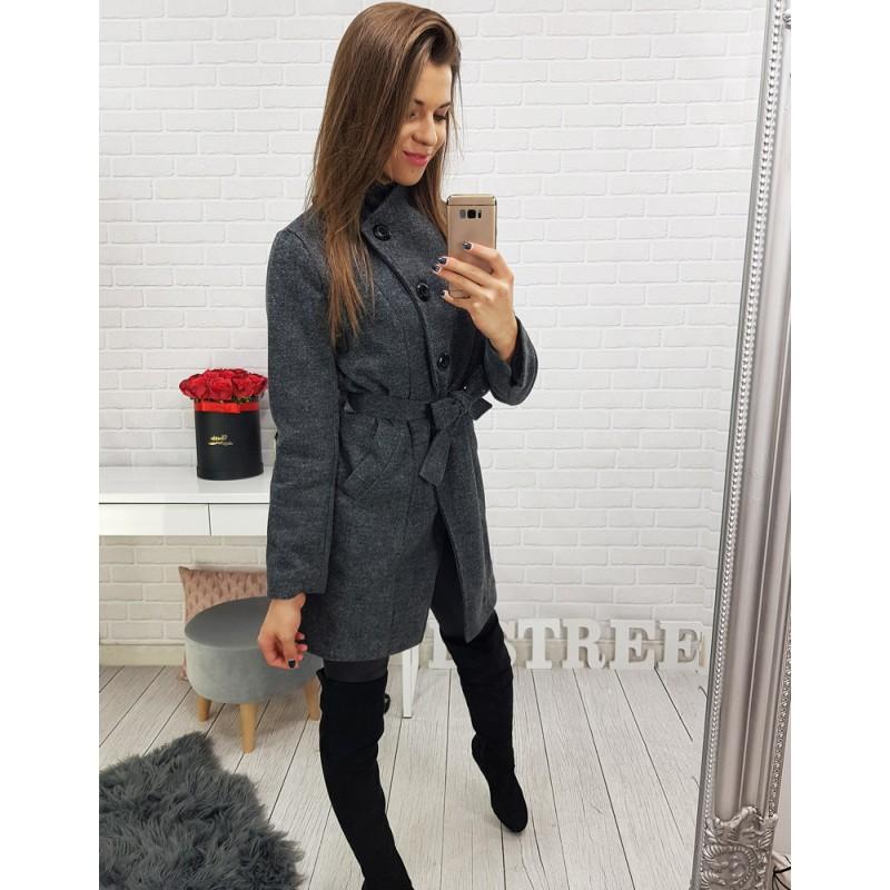 8ff1dc180d Antracitový dámský krátký kabát s páskem a bočními kapsami