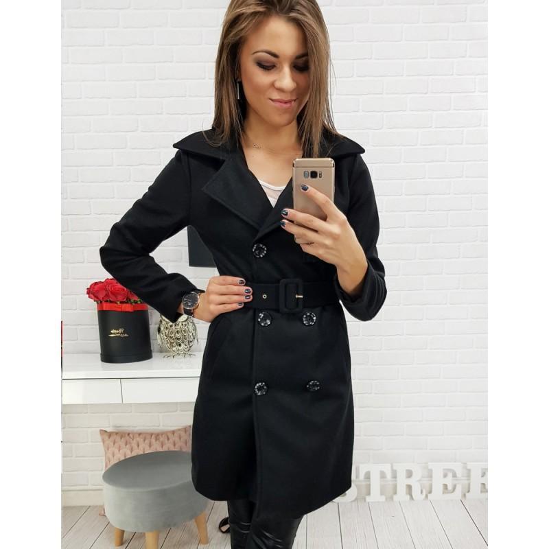 6508d18bb231 Černý dámský dvouřadový kabát nad kolena se stylovým páskem