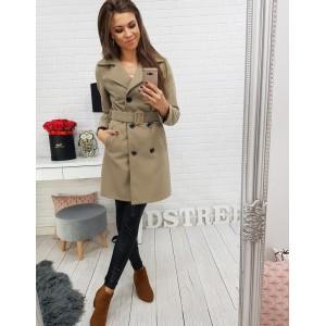 Elegantní dámský dvouřadý béžový kabát s trendy páskem