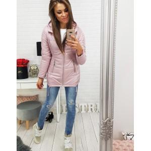 Růžová podzimní dámská bunda s prodlouženým střihem a kapucí