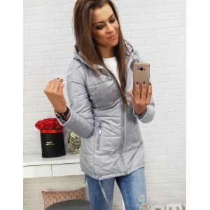 Šedá dámská přechodná bunda s bočními kapsami na zip a kapucí