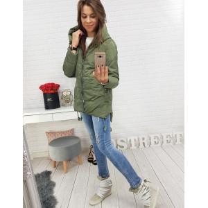 Moderní zelená podzimní dámská bunda se zapínáním na zip a s kapucí