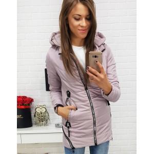 Přechodná dámská bunda růžová s ozdobnými zipy a kapucí