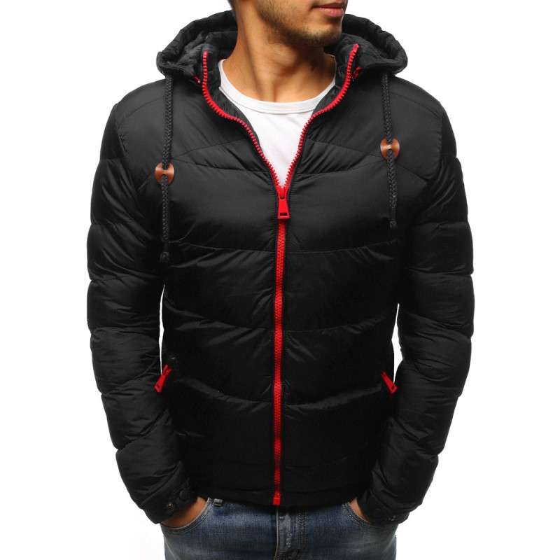 Pánská bunda na zimu v černé barvě s kapucí a červeným zipem cac30b7e17c