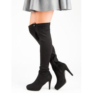 Černé dámské semišové kozačky nad kolena na vysokém podpatku