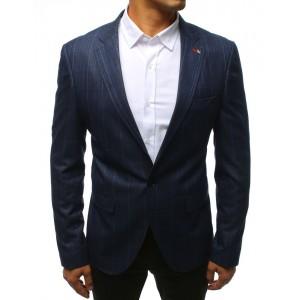 Vzorované pánské stylové sako v modré barvě