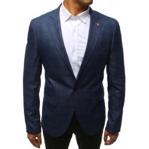 Sportovní vzorované pánské sako v modré barvě