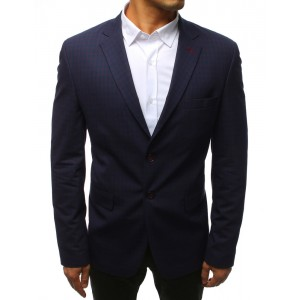Moderní pánské sako v modré barvě se zapínáním na knoflíky