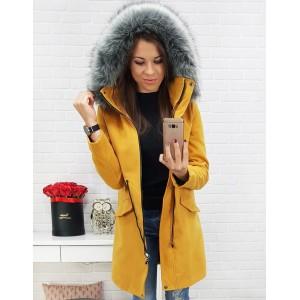 Dámský žlutý kabát na zimu s odnímatelnou kapucí a zapínáním na zip