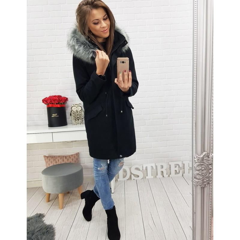 Dlouhý černý dámský kabát se stahováním v pase a kapucí ee4bff0548c
