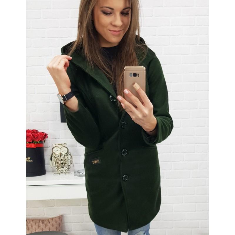 Dámský kabát zelený se zapínáním na knoflíky a kapucí aceef031f93