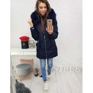 Dámská prodloužená zimní bunda na zimu tmavě modrá