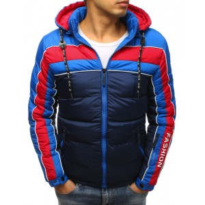 Tmavě-modrá zimní prošívaná bunda pro pány na zip s trendy designem