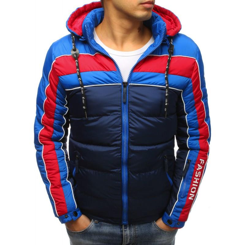 Tmavě-modrá zimní prošívaná bunda pro pány na zip s trendy designem 086fbc0e169