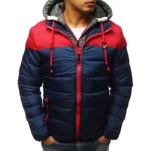 Tmavě-modrá pánská bunda na zimu s trendy odnímatelnou kapucí
