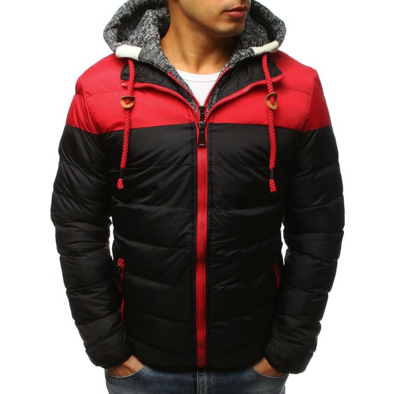 Červená pánská zimní bunda s šedou odnímatelnou kapucí f42ea62477