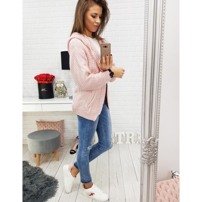 e8dd68591fce Romantický růžový dámský svetr s prodlouženým střihem a kapucí