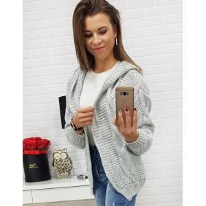 Ležérní dámský svetr pro dámy v šedé barvě bez zapínání a s kapucí