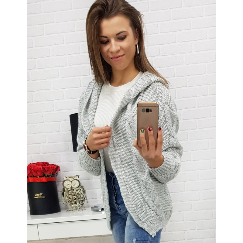 Ležérní dámský svetr pro dámy v šedé barvě bez zapínání a s kapucí 6675ed45a6
