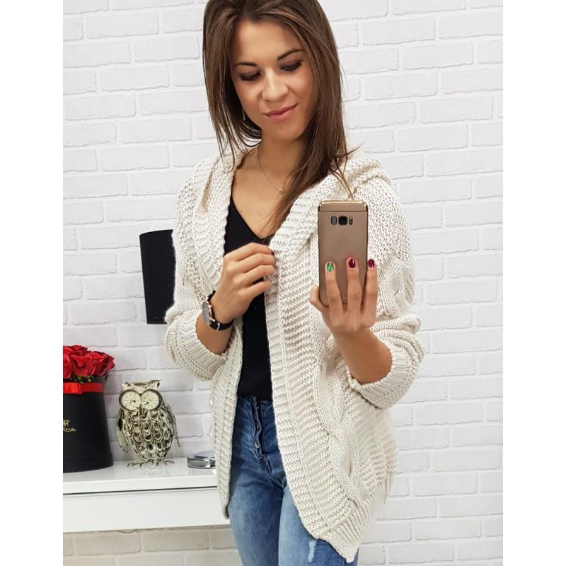 23db1fa2119 Dámský bílý pletený svetr s kapucí a trendy osmičkovým vzorem