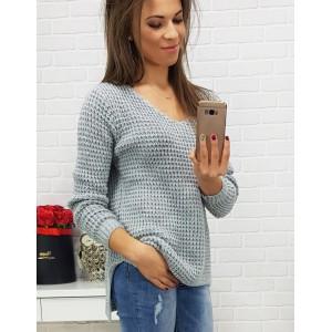 Dámský pletený svetr šedé barvy s výstřihem do V