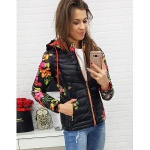 Prošívaná dámská zimní bunda s květovaným motivem