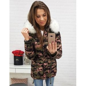 Dlouhá dámská bunda na zimu v růžovo maskáčové barvě