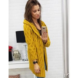 Módní dlouhý pletený dámský kardigán v trendy podzimní žluté barvě