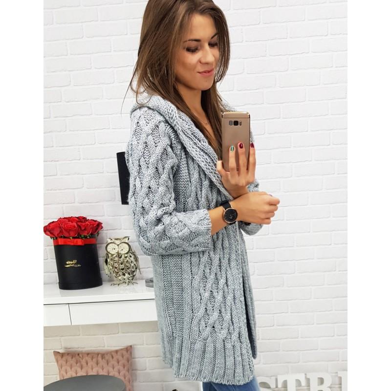 Trendy dlouhý pletený svetr dámský rovného střihu v šedé barvě s kapucí 65cbc2372f