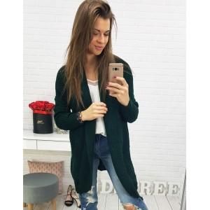 Krásný smaragdový dámský pletený kardigán s módním vzorem