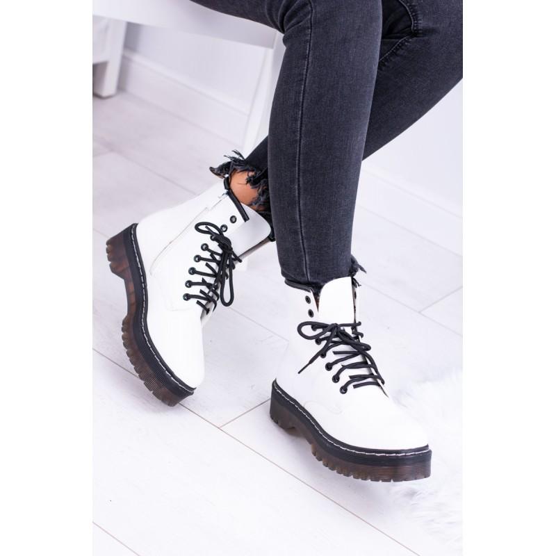 Bílé dámské worker boty na vysoké podrážce s vázáním 9b88123471