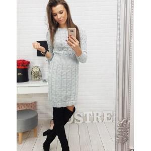 Dámské šaty s dlouhým rukávem v šedé barvě