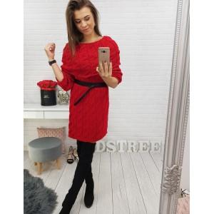 Červené dámské šaty s černým ozdobným páskem