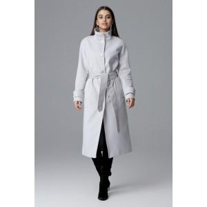 Elegantní dlouhý dámský kabát v šedé barvě s páskem a bočními kapsami