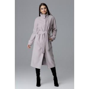 Béžový dámský dlouhý kabát na zimu se stojáčkem a zapínáním na druky