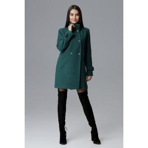 Krásný dámský zelený kabát rovného střihu s bočními kapsami