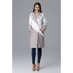 Originální dámský kabát na zimu v béžovo-bílé barvě