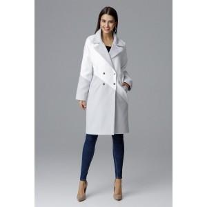 Dámský šedý kabát na zimu s originálním designem v podobě bílého pásu