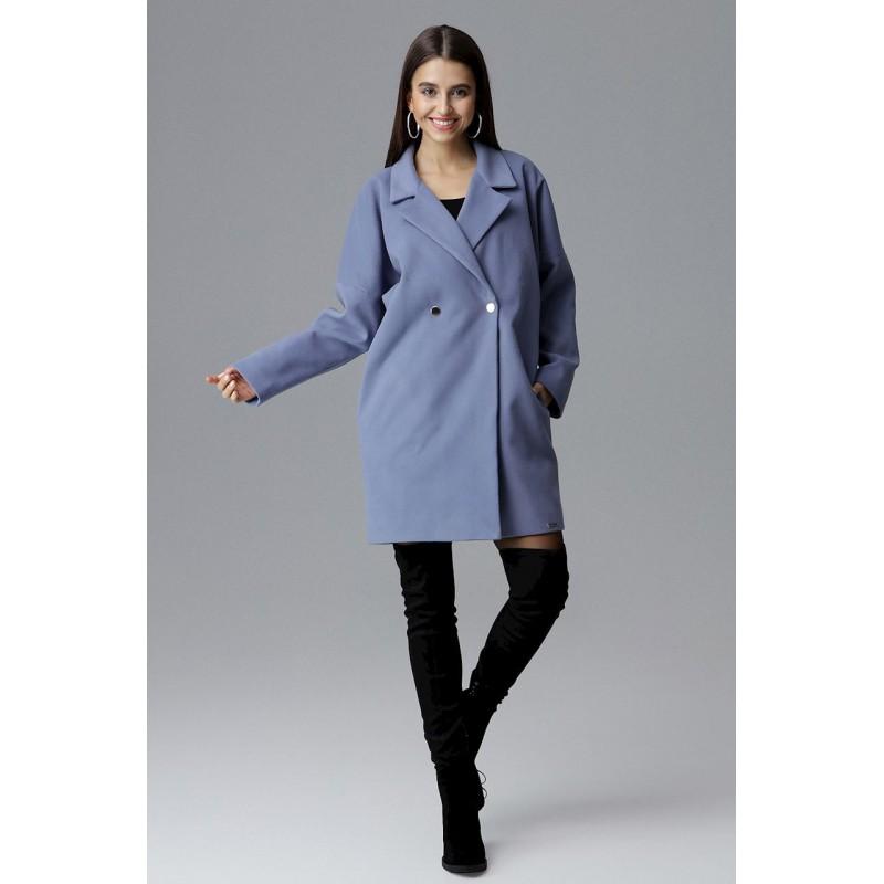 Oversize modrý dámský zimní kabát sakového střihu 898e7834885