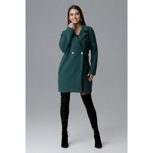 Moderní dámský zimní kabát zelené barvy v oversize střihu