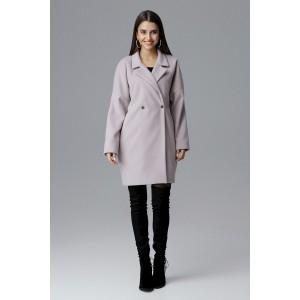 Dámský módní oversize béžový kabát na zimu se stříbrně druky