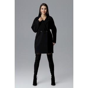 Módní černý dámský zimní kabát oversize sakového střihu