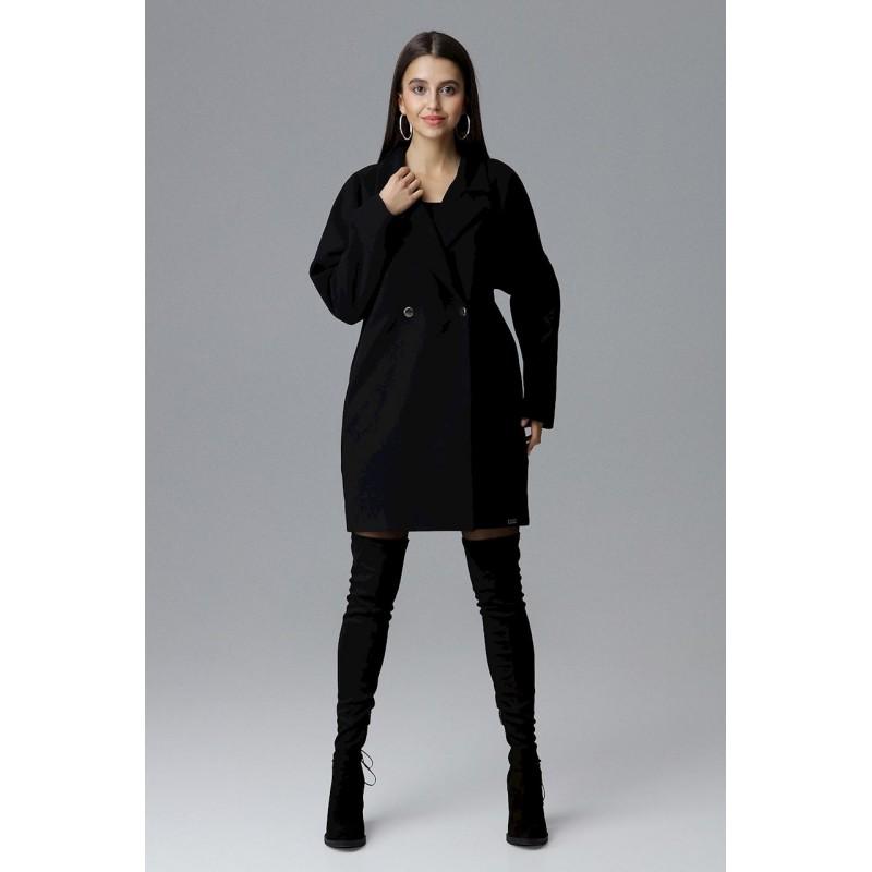 Módní černý dámský zimní kabát oversize sakového střihu 589625f53be