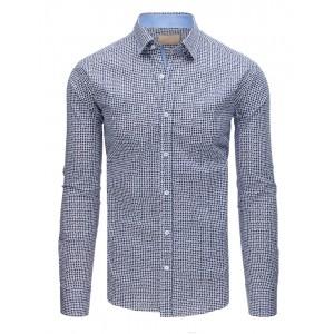 Elegantní bílo modrá vzorovaná pánská košile v slim-fit střihu